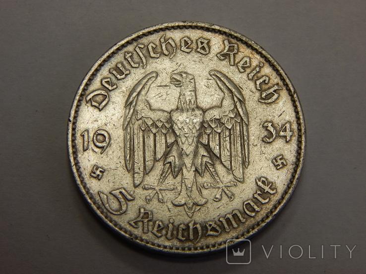 5 рейхсмарок, 1934 F, Германия, фото №2