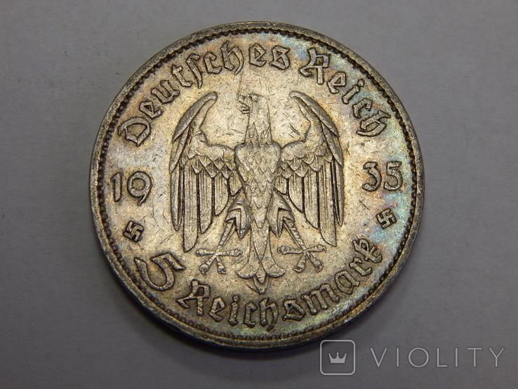 5 рейхсмарок, 1935 А, Германия, фото №2