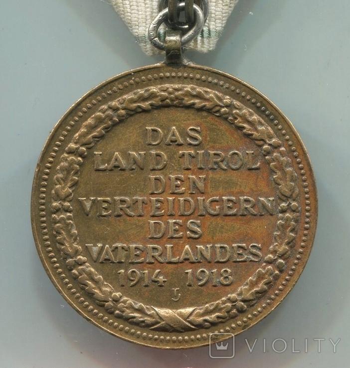 Австро-Венгрия. Тирольская медаль в память Войны 1914-1918, фото №6