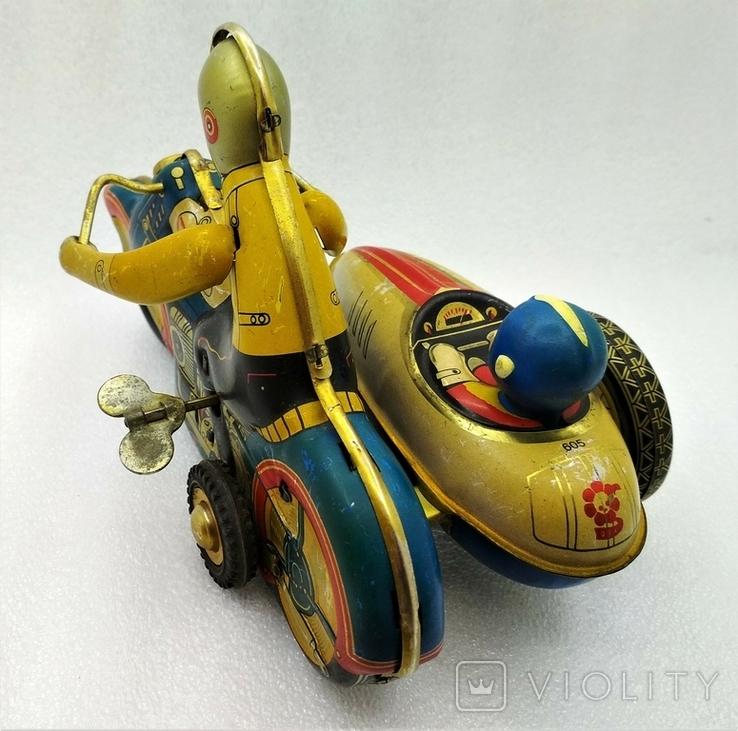 Мотоцикл с Коляской Tin Litho Винтаж Великобритания, фото №4