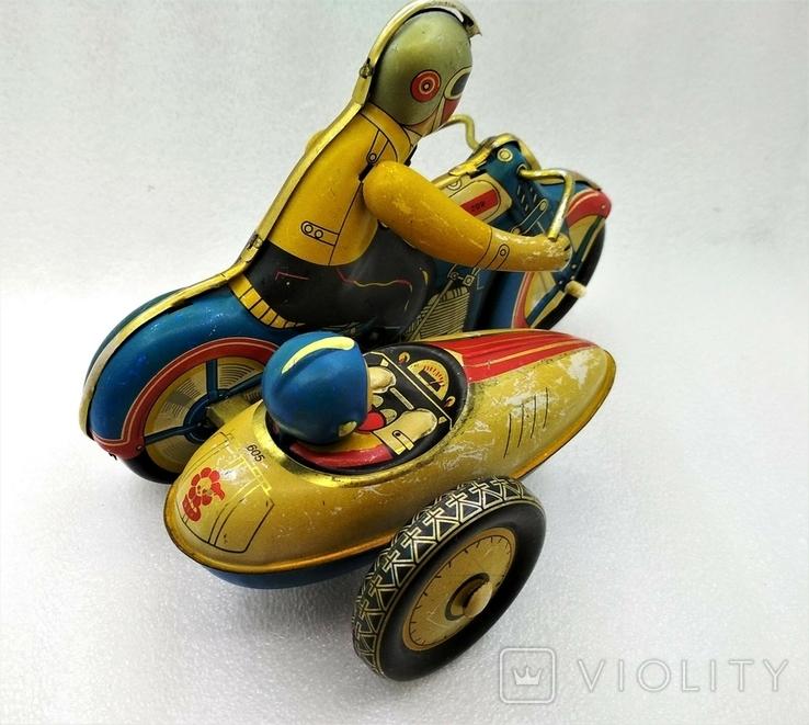 Мотоцикл с Коляской Tin Litho Винтаж Великобритания, фото №5