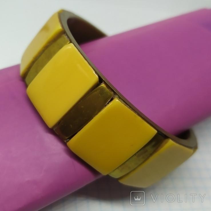 Латунный браслет со вставками из кости. ширина 23мм (3), фото №2