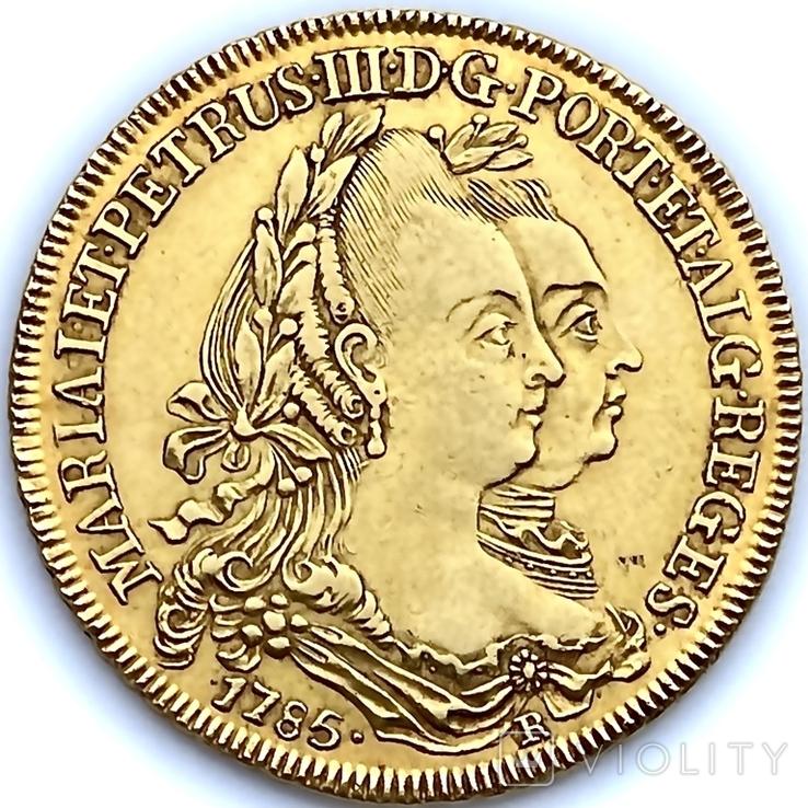 6400 рейсов. 1785. Мария I, Педро III. Бразилия (золото 917, вес 14,34 г), фото №2