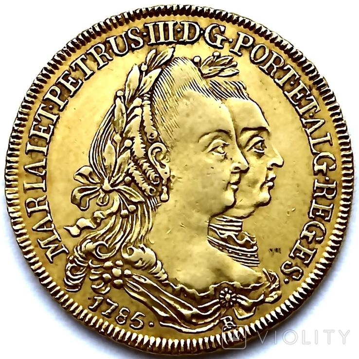 6400 рейсов. 1785. Мария I, Педро III. Бразилия (золото 917, вес 14,34 г), фото №4