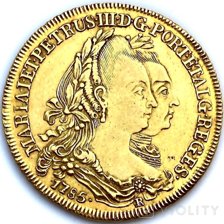 6400 рейсов. 1785. Мария I, Педро III. Бразилия (золото 917, вес 14,34 г), фото №6
