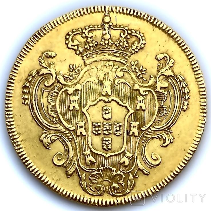 6400 рейсов. 1785. Мария I, Педро III. Бразилия (золото 917, вес 14,34 г), фото №7