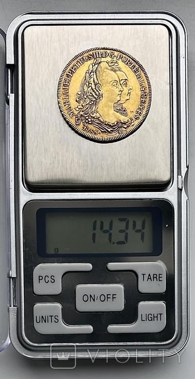 6400 рейсов. 1785. Мария I, Педро III. Бразилия (золото 917, вес 14,34 г), фото №13