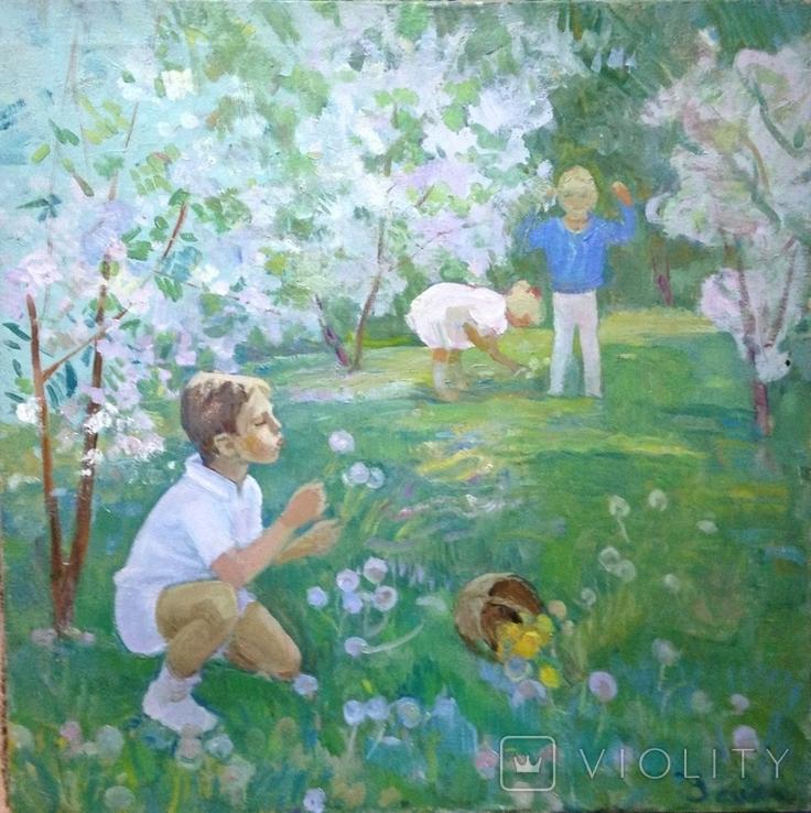 Соцреализм Дети в саду 1970 е Усикова Евдокия Григорьевна (1913 1996), фото №3