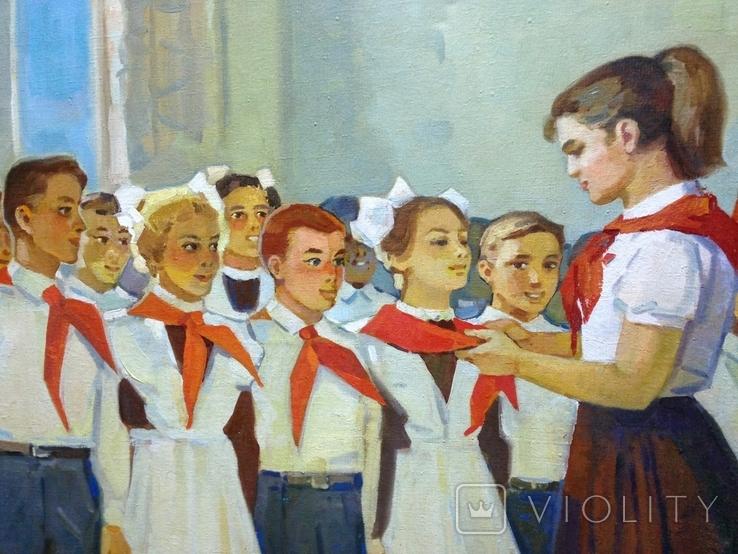 Соцреализм Прием в пионеры 1972 год, Довженко Анатолий Иванович (1932), фото №5