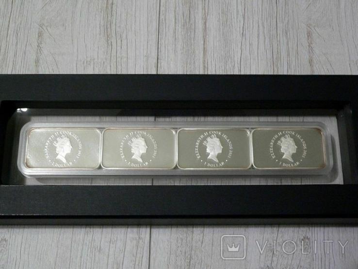 Год Кролика - набор из 4-х цветных монет - серебро 999, полный комплект, фото №4