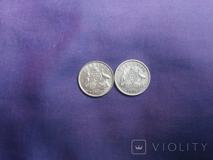 6 пенсів 1951 та 1962 років Австралія, фото №4