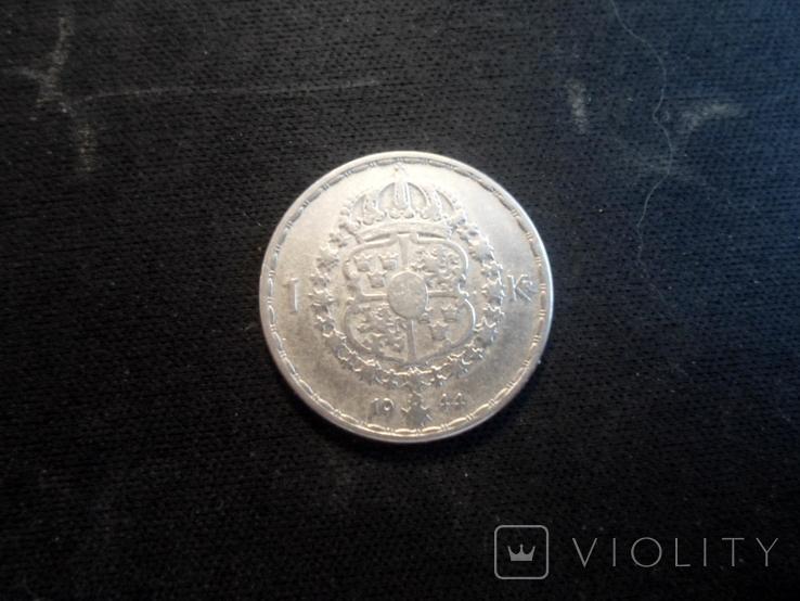 1 крона 1944г Швеция, фото №2