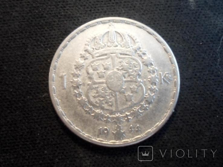 1 крона 1944г Швеция, фото №3