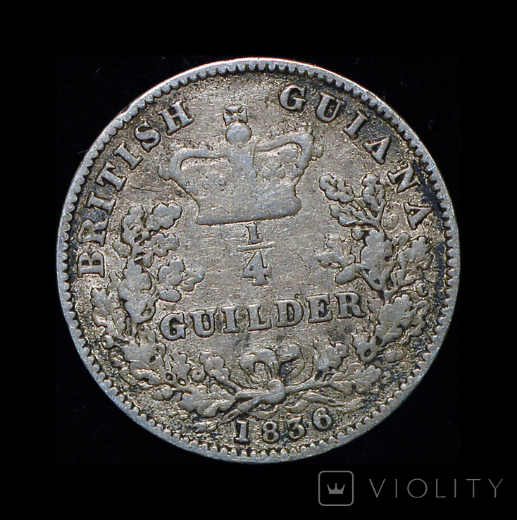 Британская Гайана 1/4 гульдера 1836 серебро, фото №4