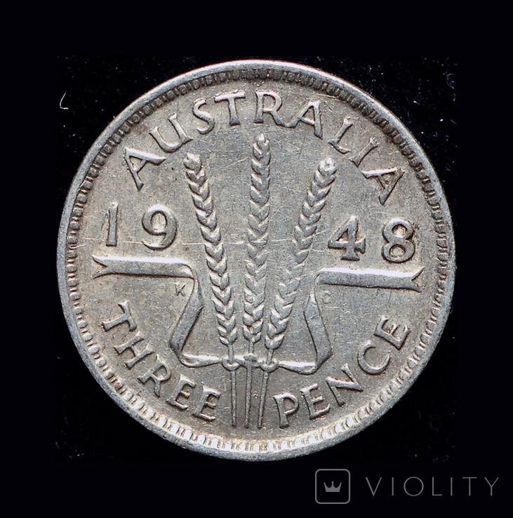 Австралия 3 пенса 1948 серебро, фото №2