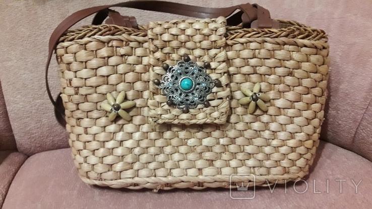Плетенная сумка из соломы с подкладкой, фото №2