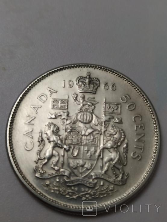 Монета 50 cents Canada 1966рік., фото №4