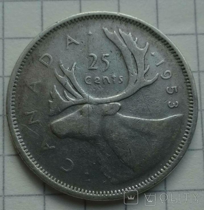 25 центов Канада, 1953 год., фото №2