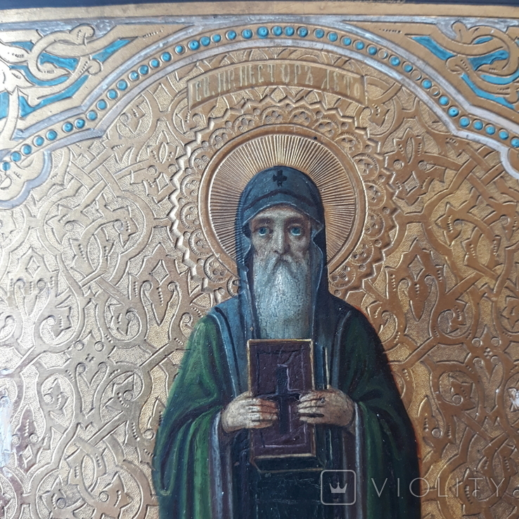 Икона Нестор Летописец 19-20в, фото №3