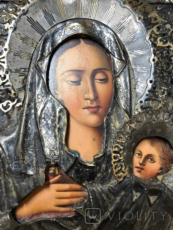 Икона Богородицы в серебре (27/22см), фото №2