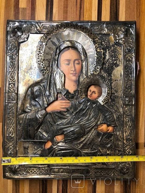 Икона Богородицы в серебре (27/22см), фото №4