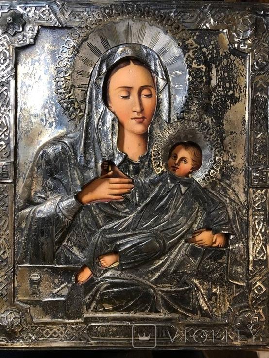 Икона Богородицы в серебре (27/22см), фото №6