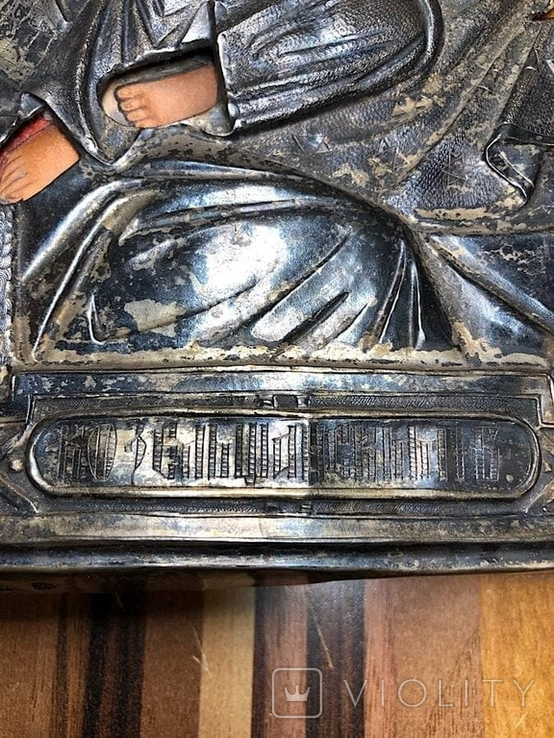 Икона Богородицы в серебре (27/22см), фото №7