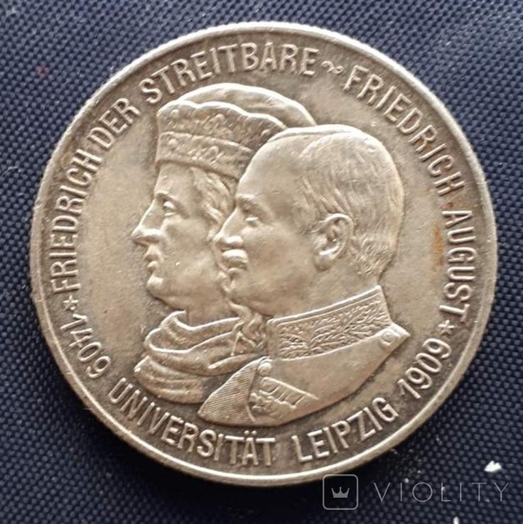 2 марки Саксония 1909г. серебро 500 лет университету Лейпцига, фото №2