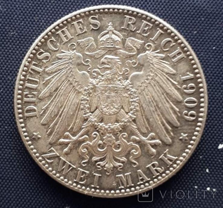 2 марки Саксония 1909г. серебро 500 лет университету Лейпцига, фото №3