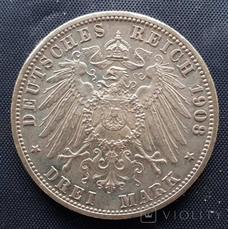 3 марки Баден Фридрих II 1908г., фото №3