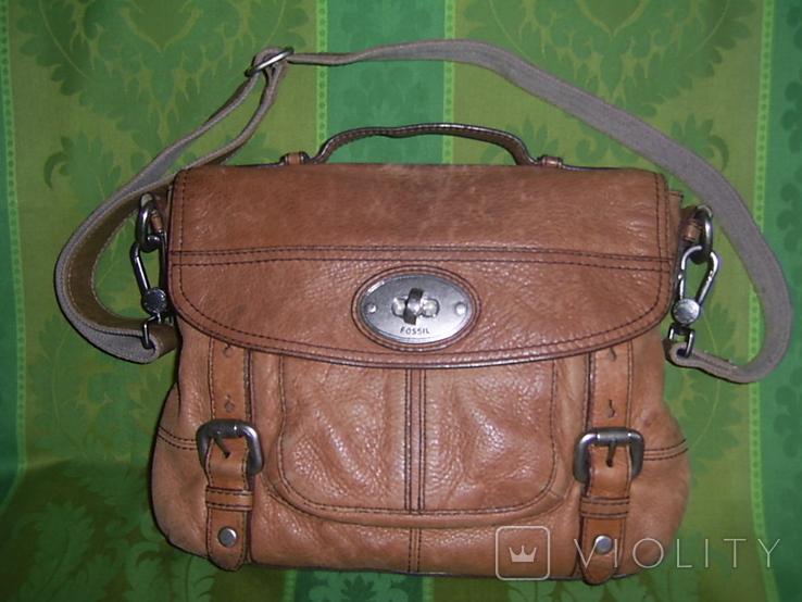 Сумка кожаная Fossil Long Live Vintage и наплечный ремень Cowboys Bag, фото №2