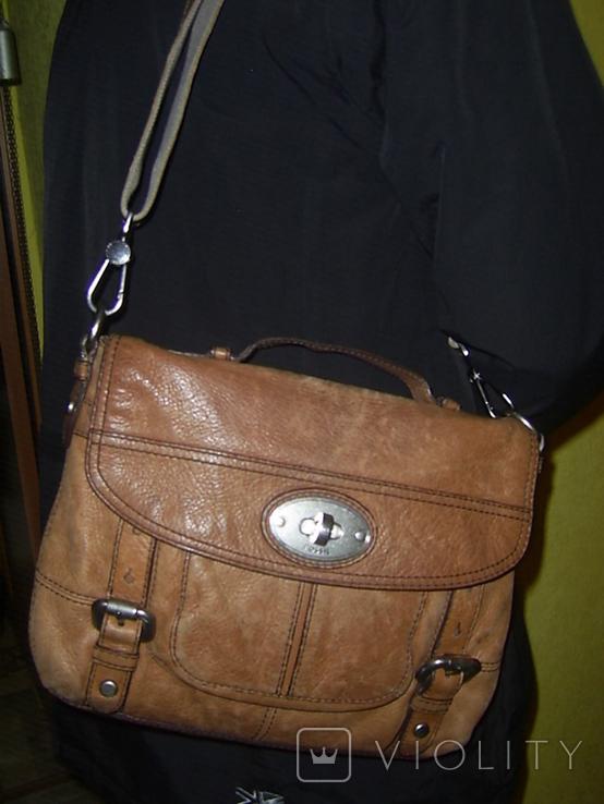 Сумка кожаная Fossil Long Live Vintage и наплечный ремень Cowboys Bag, фото №3