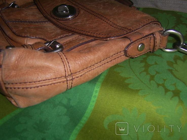 Сумка кожаная Fossil Long Live Vintage и наплечный ремень Cowboys Bag, фото №5
