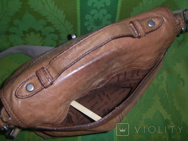 Сумка кожаная Fossil Long Live Vintage и наплечный ремень Cowboys Bag, фото №9