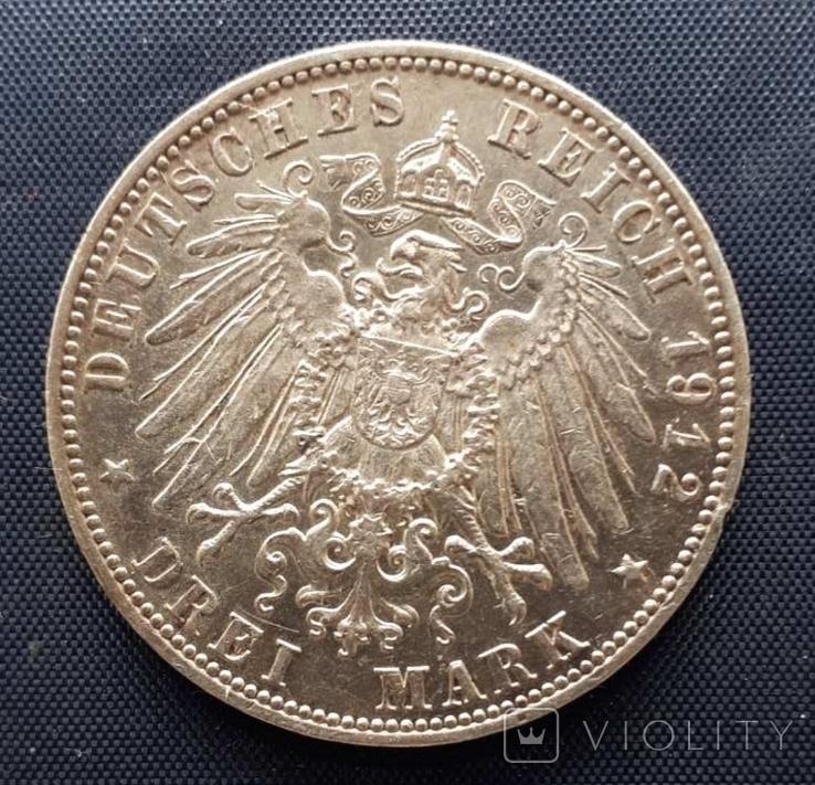 3 марки Саксония Фридрих Август III 1912г., фото №3