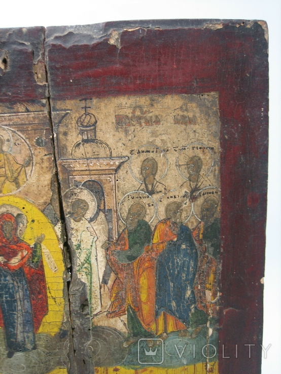 Икона Покров дерево 32 х 41 см на реставрацию, фото №4