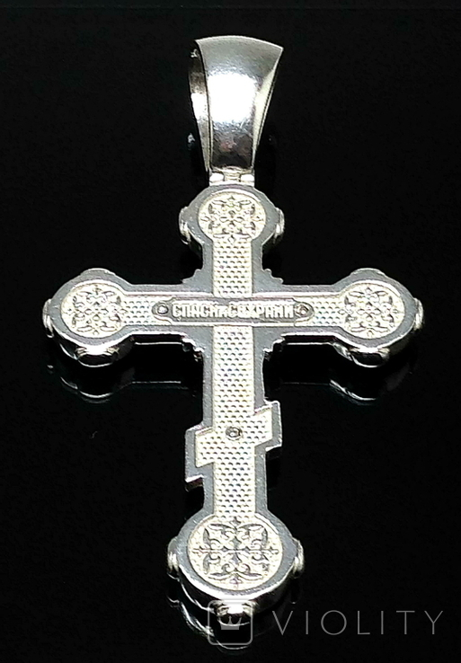 Крестик, цирконы, эмаль, фото №3