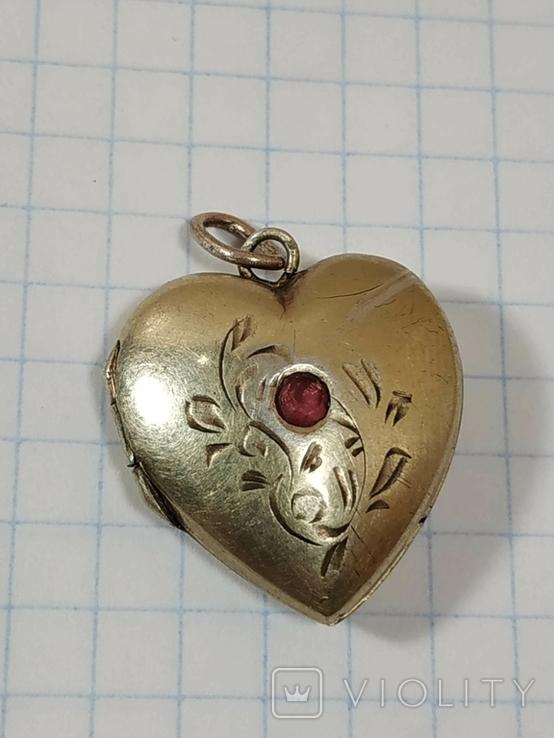 Красивая подвеска,сердечко, серебро, СССР., фото №2