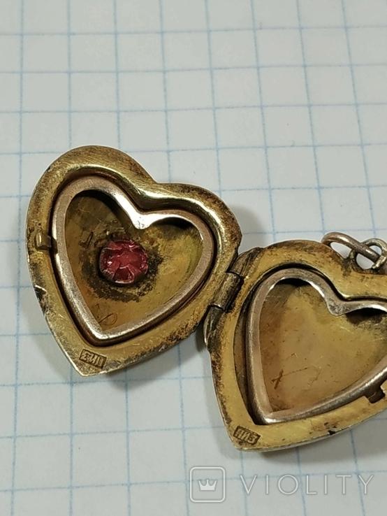 Красивая подвеска,сердечко, серебро, СССР., фото №6