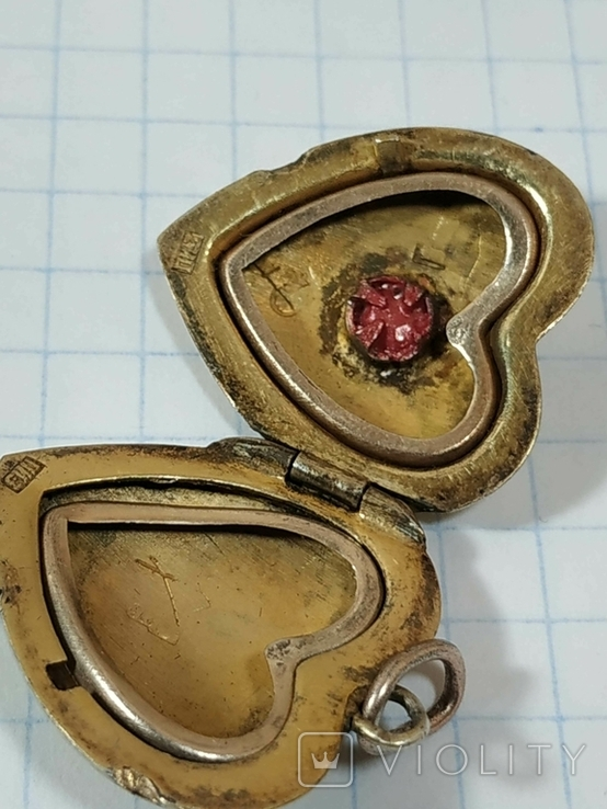 Красивая подвеска,сердечко, серебро, СССР., фото №9