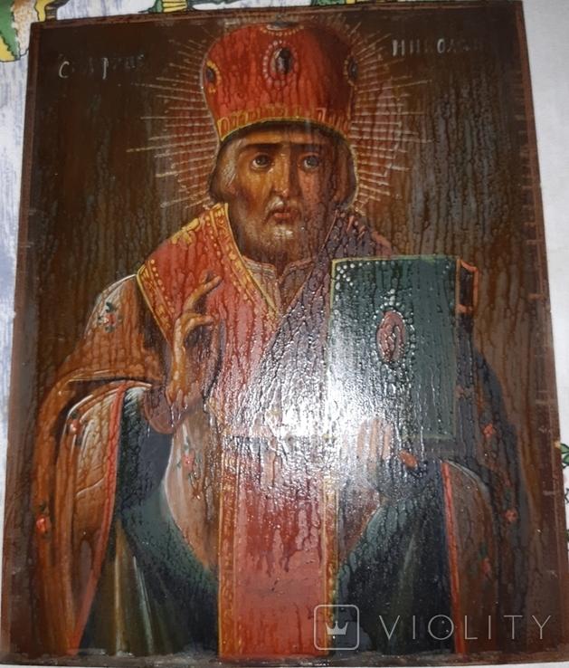 Икона 18-19 век Николай Чудотворец, фото №8