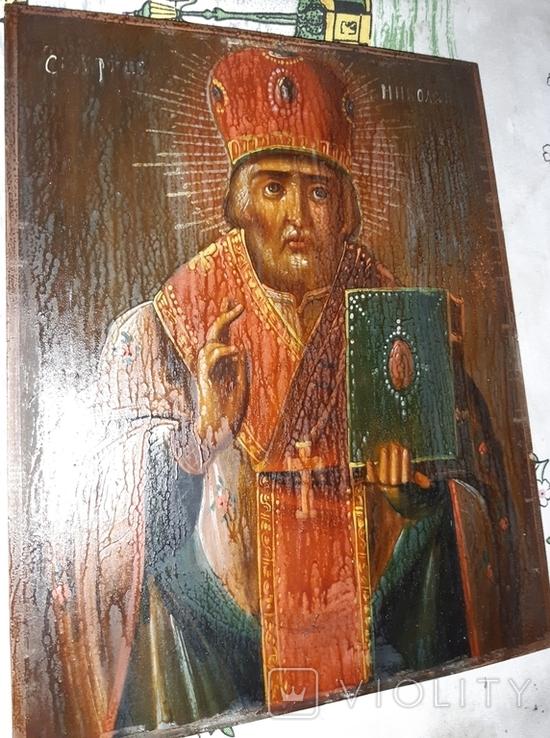 Икона 18-19 век Николай Чудотворец, фото №10