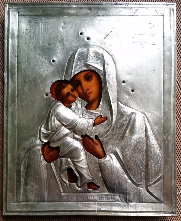 Ікона Володимирська Богородиця, латунь 22,3х18,0 см, фото №3