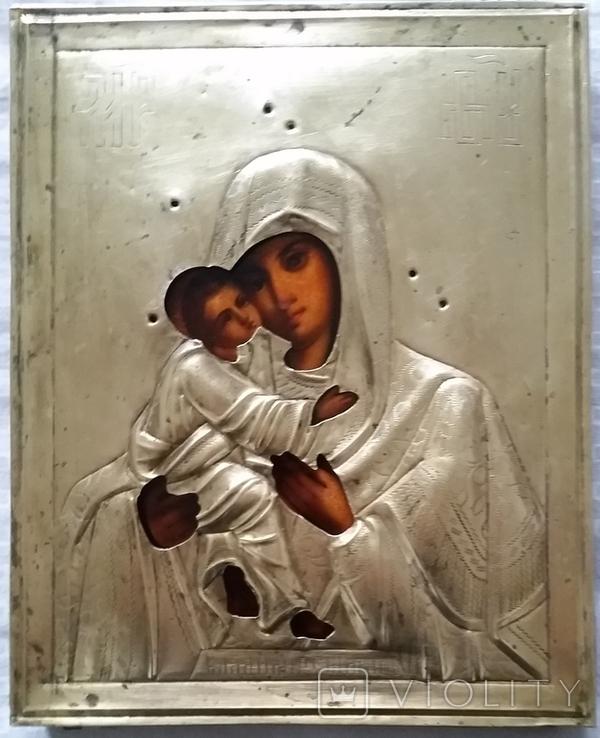 Ікона Володимирська Богородиця, латунь 22,3х18,0 см, фото №4