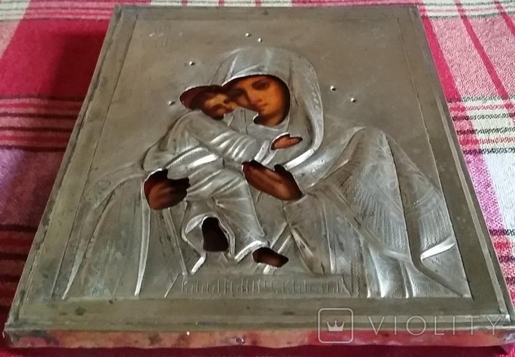 Ікона Володимирська Богородиця, латунь 22,3х18,0 см, фото №5