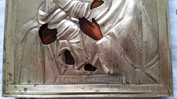 Ікона Володимирська Богородиця, латунь 22,3х18,0 см, фото №9