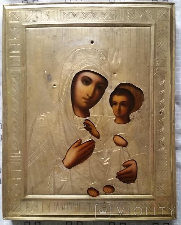 Ікона Іверська Богородиця, латунь 22,3х18,0 см, фото №2