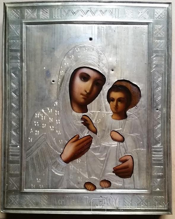 Ікона Іверська Богородиця, латунь 22,3х18,0 см, фото №3