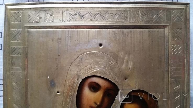 Ікона Іверська Богородиця, латунь 22,3х18,0 см, фото №6