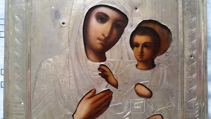 Ікона Іверська Богородиця, латунь 22,3х18,0 см, фото №7